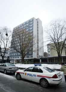 Den ulovlige rekrutteringen kom i søkelyset etter drapet på to kinesiske studenter i denne studentblokken i Oslo. Foto: Knut Falch, Scanpix