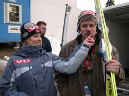 Anette i Holmenkollen sammen med faren Ole Sagen. Foto: Birger Amundsen.