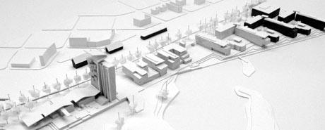 Slik ser arkitektene for seg Tjuvholmen-området i Hamar. (Foto: Jostein Rønsen Arkitekter AS)