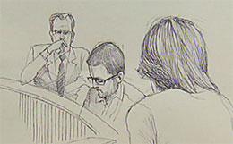 Rettstegning fra Knutby-saken i dag(Tegning:Sveriges Televisjon)