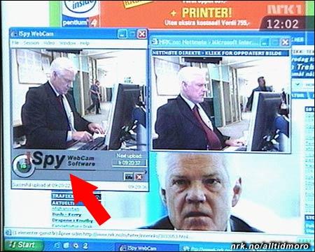 Bilde av skjermen (ikke manipulert!) under nettmøtet med Arne Treholt.
