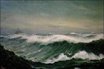 Storm i Nordsjøen. Måleri av Isak Refsnæs. (Foto utlånt av Rune Anda).