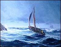 «Sejlskøite i storm». Måleri av Isak Refsnæs i Selje i 1904. (Foto utlånt av Rune Anda).