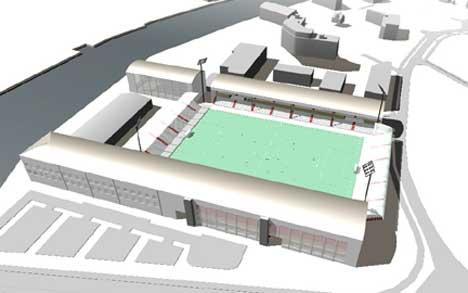 FFK vil bruke alle inntekter av salget innen klubben. Blant annet til den nye stadion på Værste. Illustrasjon v/ Griff kommunikasjon as