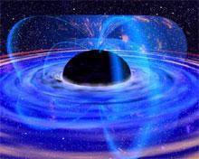 Det sorte hullet i midten er omgitt av en malstrøm av gass (skiven) og magnetlinjer som går gjennom gassen. Disse er vist som gjennomsiktige, blå bånd. Illustrasjon: NASA.
