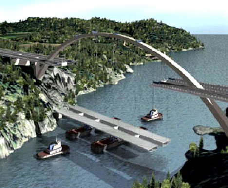 Slik vil den nye bro-delen bli løftet på plass fra kommende helg. (Foto: Statens Vegvesen)