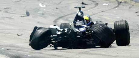 Ralf Schumachers bil etter ulykken. (Foto: AFP/Scanpix)