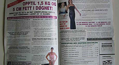 Slankereklame fra firmaet Postkjøp AS. Faksimile fra postordrekatalogen Ja takk.