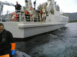 Kystvakta deltok i kontrollen i dag. Foto:Alf-Jørgen Tyssing.