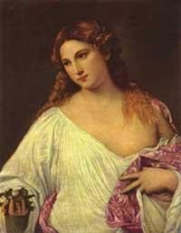 Dette er den originale Flora. Malt av Tizian mellom 1515 og 1520.