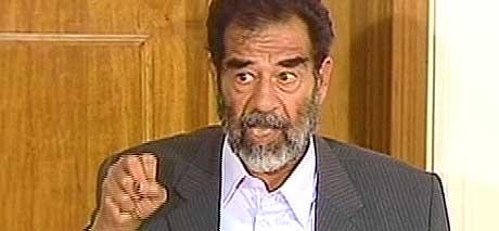 Saddam Hussein fotografert 1. juli i år. (Arkivfoto: CBS/EBU)