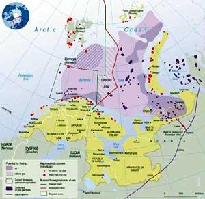 Kart over store olje- og gassfunn i Barentshavet.