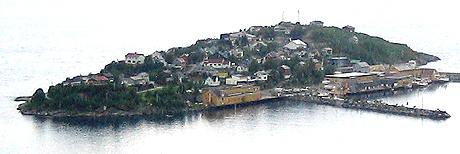 På Husøy må folk bo tett i tett, for øya er bare en kilometer lang og en halv kilometer bred. Foto: Kjetil Lillesæter, NRK