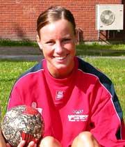 Martine Lervik i Gjerpen håndball er klar for EM i beachhåndball. Foto: Hans Christian Eide.