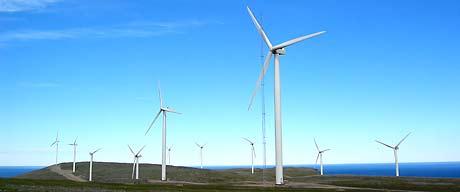Vindmøller i Havøysund i Nord-Norge. No er det også planar om ein vindmøllepark på Stadlandet. (Foto: Knut-Sverre Horn)