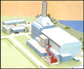 Modell av eit gasskraftverk. Skagerak Energi satsar vidare i Grenland.