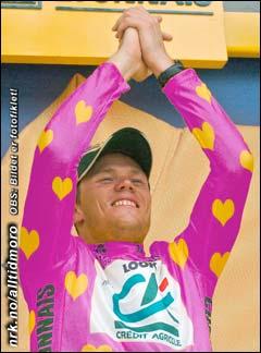 Ny triumf: Hushovd kan feire at den fiolette trøye med gule hjerter er blitt hans