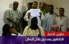 """NYE GISLER: Gruppen """"Svarte Flagg"""" har tatt seks personer som gisler i Irak, melder Al Arabiya."""