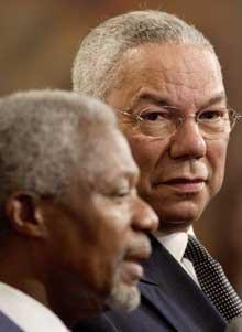 Annan og Powell har truet Khartoum med mulige inngrep hvis regjeringen ikke stanser Janjaweed (Foto: C. East, Reuters)