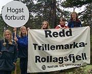 Det har vært mange diskusjoner om vern av Trillemarka. Her er det Natur og Ungdom som demonstrerer for et par år siden.