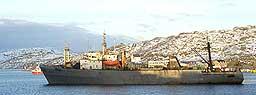 Den oppbragte russiske tråleren Sokrat i Bodø