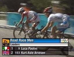 Kurt Asle Arvesen var helt i teten en kort stund to runder før slutt. (Foto: NRK)