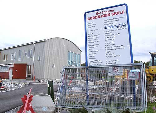 Slik så det ut utenfor den nye skolen tre dager før skolestart. Foto: Martin Giæver.