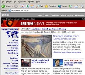 PÅ TOPP: BBC Online har tyveriet som toppsak, i likhet med flere andre utenlandske medier. (ILUSTRASJON: news.bbc.co.uk)