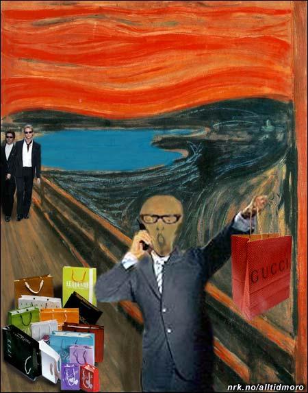 """Homsepatruljen fra TV3 innrømmet i dag å ha utført Munch-ranet. Maleriet er nå levert tilbake, etter at makeover-spesialistene hadde """"fikset litt på bildet og gjort det mer trendy""""."""
