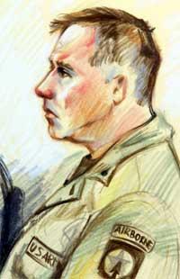 Charles Graner tegnet i rettssalen mandag. (Scanpix / AP / Tegning: Irina Langel)