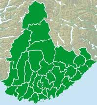 Sørlandet som en av sju regioner (kart: nrk.no)