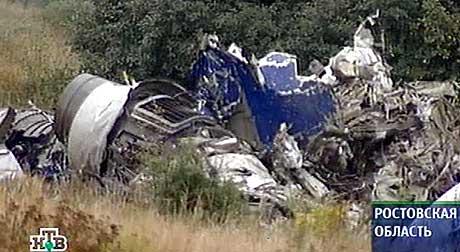 STYRTET: Tupolev 154-flyet styrtet ved Rostov bare fire minutter etter at Tupolev 134-flyet styrtet utenfor Tula. (Foto: NTV/AFP)