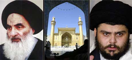 Ali al-Sistani og Moqtada al-Sadr (t.h.) skal ha blitt enige om å legge ned våpnene. (Foto: Scanpix / AFP)