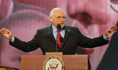 Dick Cheney gjekk hardt ut mot John Kerry i talen sin i natt. (Foto: AFP/Scanpix)