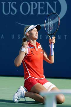 Jelena Dementieva jublet etter seieren i kvartfinalen. (Foto: AP/Scanpix)