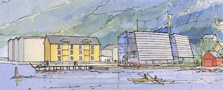 Slik ser arkitektane for seg at det ferdige området skal sjå ut. (Illustrasjon: Ole A. Krogness for Solheim og Søvik AS)