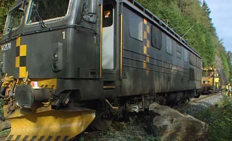 En stor steinblokk hindret togene å komme frem. Foto: Børge Solem.