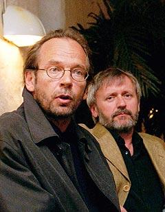 Erik Hillestad sammen med en av mange artister han har jobbet sammen med på Kirkelig Kulturverksted, Ole Paus. Foto: Cornelius Poppe, SCANPIX.