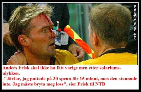 I et forsøk på å skaffe seg en enda dypere brunfarge satte Anders Frisk seg fast og måtte bryte seg løs. (Innsendt av Einar Johansen)