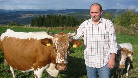 Tore Skarpnord fra Ringsaker sammen med to av sine eksemplarer av Telemarksfe. (Foto:Vera Wold/NRK)