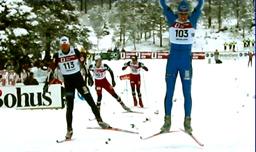 Håvard Bjerkeli jubler under det siste NM på ski i fylket vårt på Skaret 2003. Foto: Gunnar Sandvik