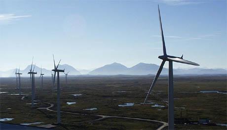 Smøla vindpark er eit spanande syn, og svært mange vil sjå han. (Foto: Statkraft)