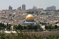 Utsikt mot Øst-Jerusalem og den gyldne kuppelen på Klippemoskeen