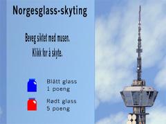 Blått glass gir 1 poeng og rødt glass gir 5 poeng.