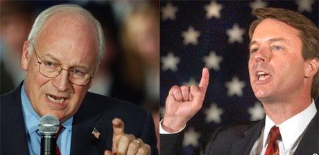 Visepresident Dick Cheney skal duellere med demokratenes visepresidentkandidat John Edwards. (Fotomontasje: NRK/AP/Scanpix)