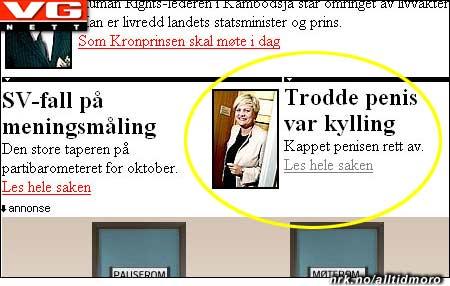 Kristin Halvorsen er like blid, tross fadesen. (Forsiden på VG.no 5/10. Innsendt av Jonas Nilsson, ezaphen.com)