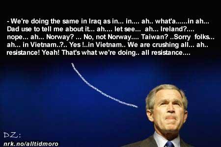 Bush avviser ryktene om hans mentale helse. (Innsendt av Donald Zerman)