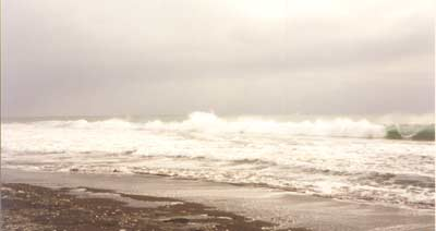 Sjøen står inn på Helenestranden. Foto: Bernt Olsen