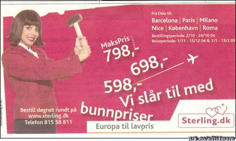"""Ekte annonse.Innsendt av Tom Karlsen, som skriver: """"Denne annonsen så jeg i avisene i dagene etter at han algireren hadde gått berserk med øks på Kato Air flyet. Annonsen går fortsatt uforandret ser det ut for. Kommentar er vel egentlig unødvendig."""""""