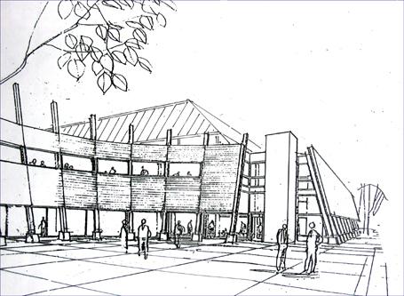 Kosbergs Arkitektkontor har gjort illustrasjoner til et nytt Træffhus på branntomta ved Reknesbanen. No kan det i stedet bli en storhall.